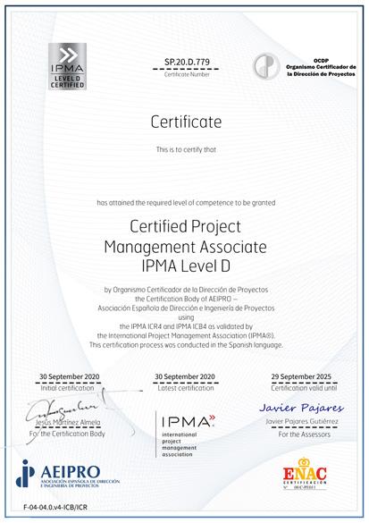 Certified Project Management Associate IPMA Level D